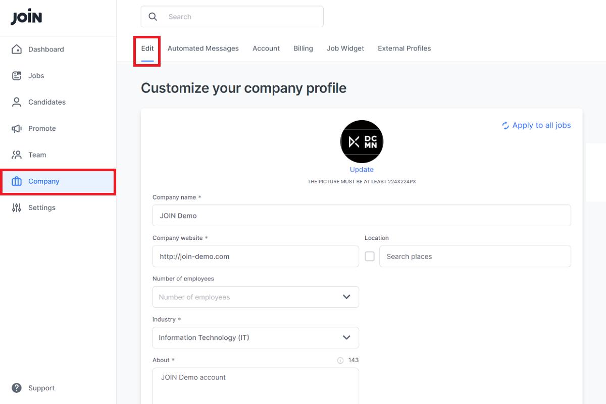 manual setting up company account