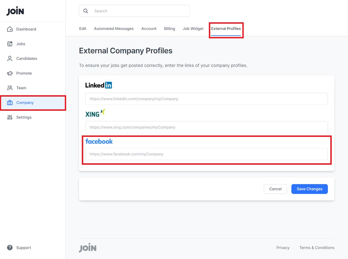 screenshot showing where to insert facebook link