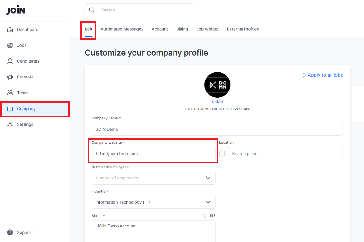 Screenshot showing how to change link to company website