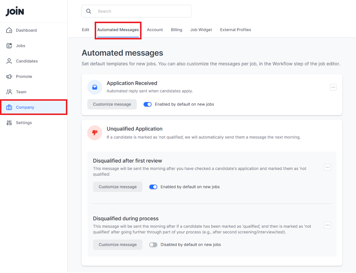screenshot for editing automated messages
