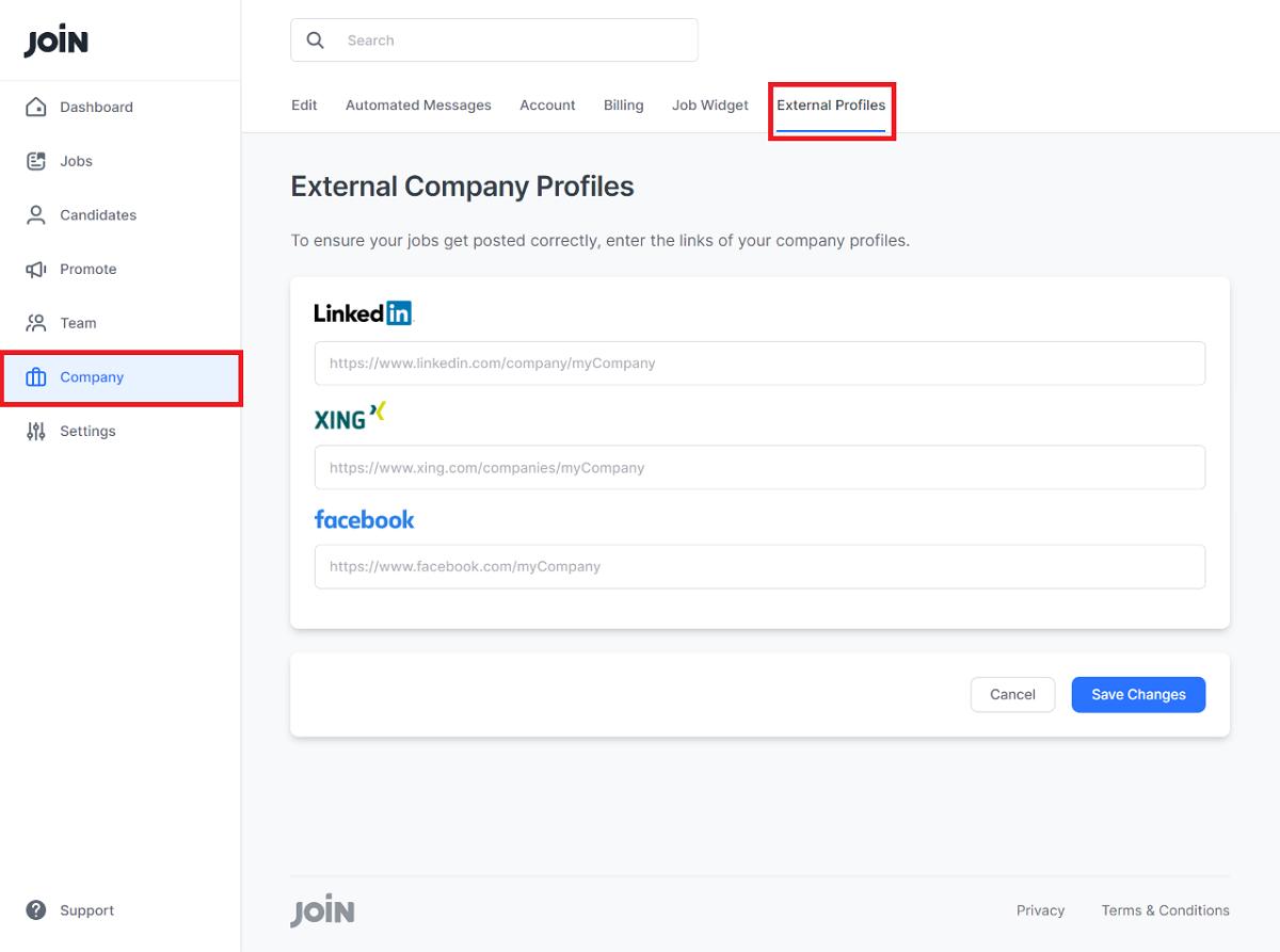 screenshot showing where to insert external company profiles