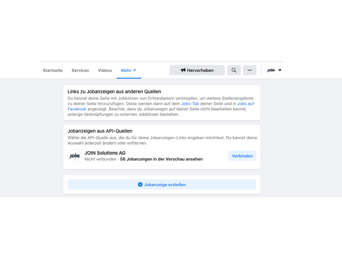 screenshot zum verbinden der JOIN-API auf facebook