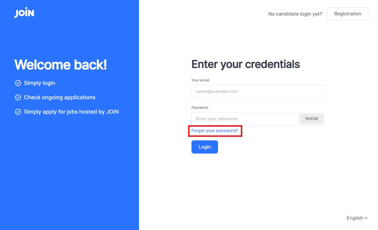 screenshot of applicant login