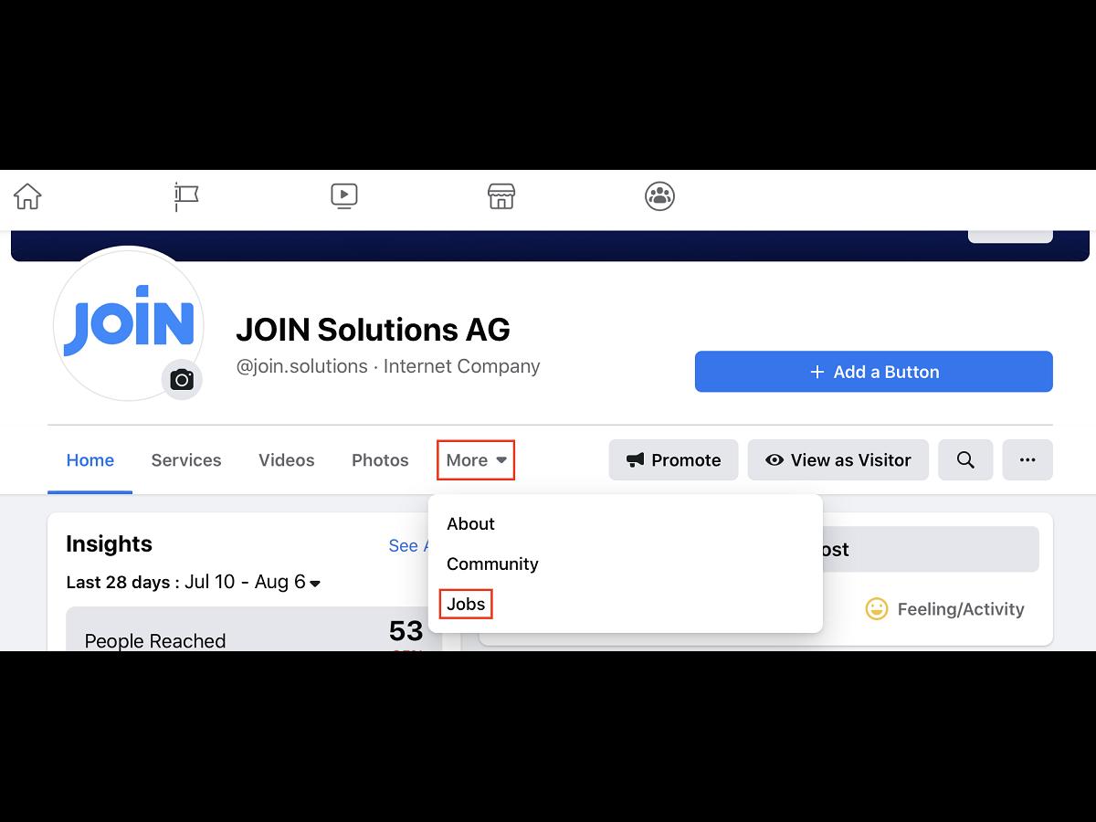 Screenshot showing facebook menu
