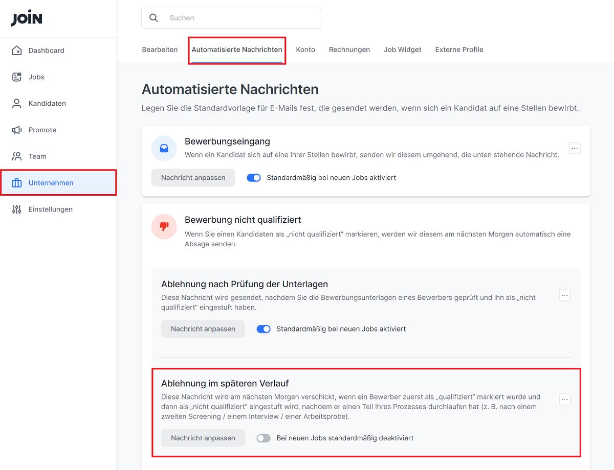 Screenshot als Anleitung zur Aktivierung nachträglicher Absage-E-Mails