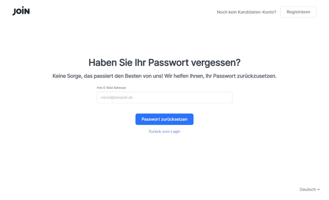 screenshot passwort reset bewerber