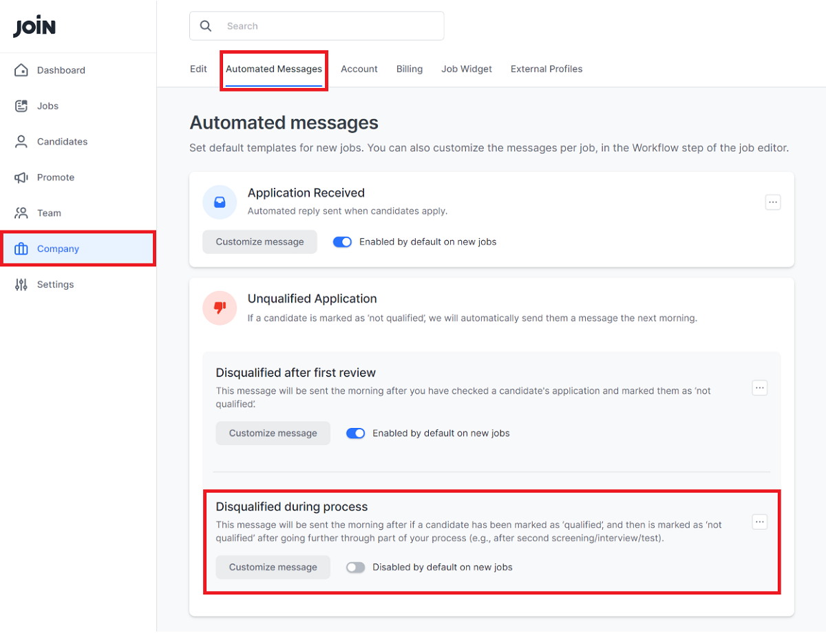 Screenshot showing instructions for activating subsequent rejection e-mails