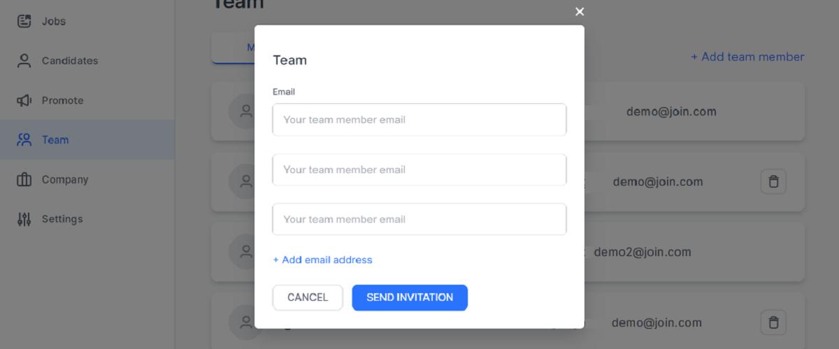 screenshot showing invitation window to add team members